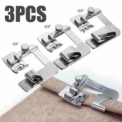 3Pcs Stainless Steel Rolled Hem Feet Use For Household Electric Sewing Machine