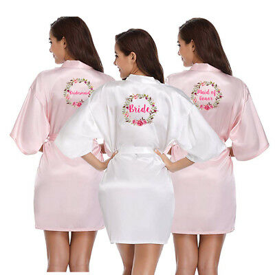 Women Silk Satin Wedding Floral Robe Bridesmaid Bride Maid of honor Gown Dress