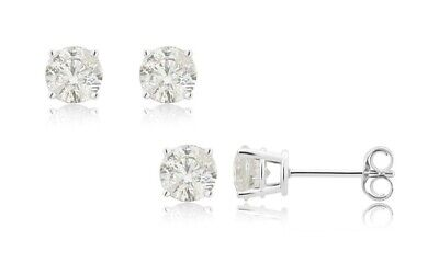 1/4 cttw Diamond Stud Earrings 14K White Gold 4 Prong Basket Set With Push Backs