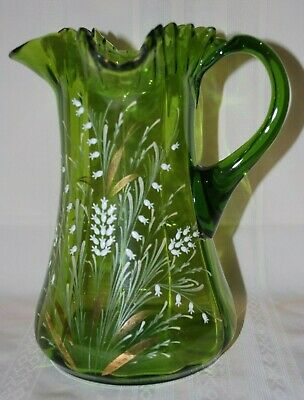 Antique Victorian Pitcher Vase Blown Glass Hand Painted Ruffles Green Beautiful