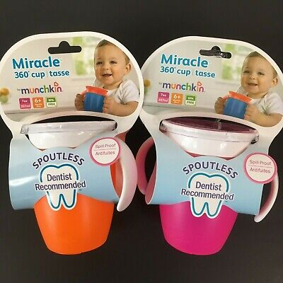 Munchkin Miracle 360 Trainer Cup 7 Ounce 2 Count One Orange and One Pink