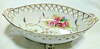 Antique Pierced Footed Bowl, Pink Roses/White Porcelain - Crossed Arrows Mark