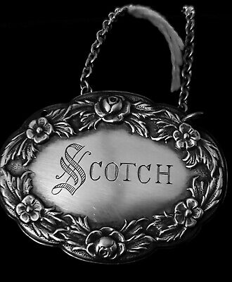 sterling silver decanter tag, S Kirk & Son, Scotch