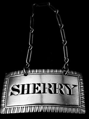 sterling silver decanter tag, Sherry, 1802