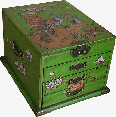 Mirrored Jewellery Box -  Large Green Flora Gilted Painted Box New (MB-L3LG-PK)