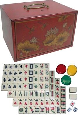 Mahjong Set in Deluxe Oriental Red Painted Case with Drawers New (MJ-4R)