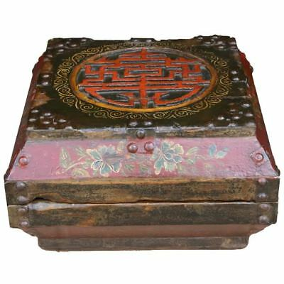Chinese Antique Wood Box with Carvings (09-051B)