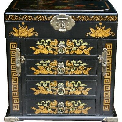 Black Chinese Painted Lacquer Jewellery Box with Mirror Large New Multi Function