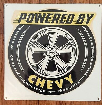 Powered by Chevy Chevrolet Power Hot Rod Racing Vintage Metal Sign Home Decor