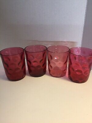4 Victorian Cranberry Glass Tumblers Inverted Coin Thumbprint Fish Eye Optic