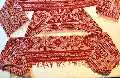 Antique Country French Farmhouse Turkey Red Linen Shelf Covers, Cottage, 3