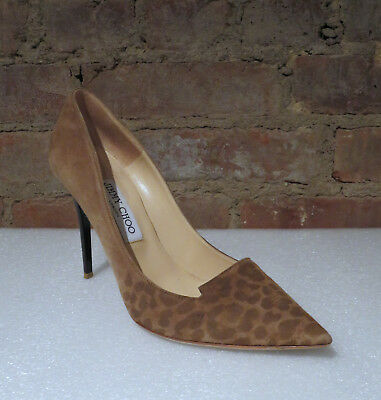 d2bf143b7a63 JIMMY CHOO Camel Leopard Suede Pointy Toe Pumps 133Alia - Size 38.5 8-8.5