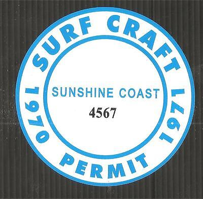 """SUNSHINE COAST 1970-1971 SURFBOARD SURF CRAFT PERMIT"" Sticker Decal SURFING"