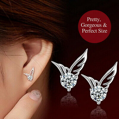 925 Sterling Silver Attractive Cubic Zirconia Crystal Angel Wings Stud Earrings
