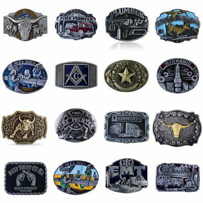 Mens 3D Patterns Western Cowboy Belt Buckle Vintage Alloy Metal for Belt 38-40mm