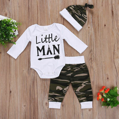 3Pcs Newborn Baby Boy Camo Long Sleeve Tops Romper Pants Hat Outfits Set Clothes