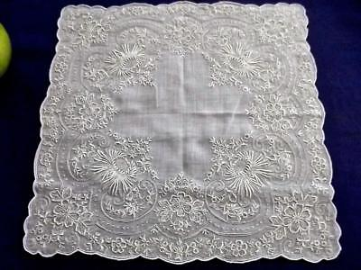 Antique Scottish Ayrshire Handkerchief Densely Embroidered Mums Bridal Hankie EC