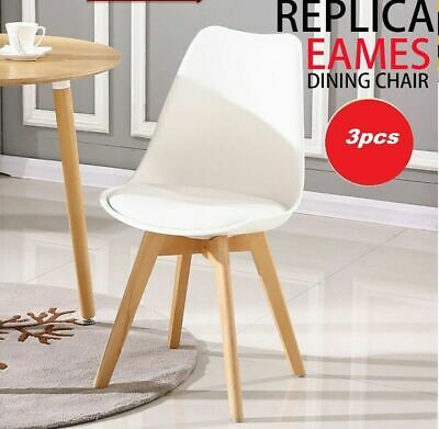 3Pcs Retro Replica Eames PU Leather Dining Office Cafe Lounge Padded Seat Chair