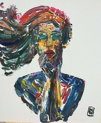"24"" Vivid Colorful High Fashion Portrait of a Woman Girl Abstract Painting Art"