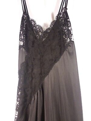 f0807badcc2 Fredericks of hollywood Nightgown Size Medium Black Lace Long Straps Satin 3