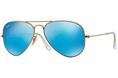 a6be1fb4ea7 NEW RAY BAN Aviator Matte Gold Frame RB 3025 112 4L Polarized Blue ...