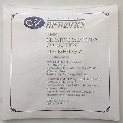 "NIP Creative Memories 12X12 ""The Baby Pages"" Blue Gingham Scrapbook Pages"