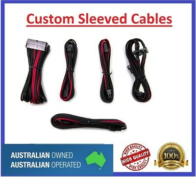 Red an Black Custom Sleeved PC Cables Kit Silverstone PSU