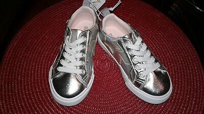 4076947740d0 New Girls Gymboree Size 9 Silver Metallic Slip On Shoes with Holographic  Stars