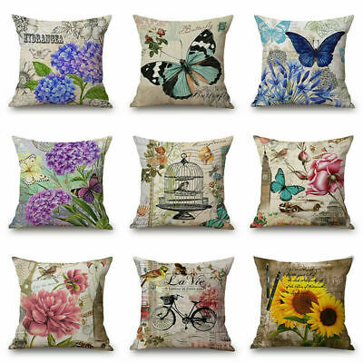 Vintage Colorful Butterfly Flower Decorative Cushion Cover Throw Pillow Case