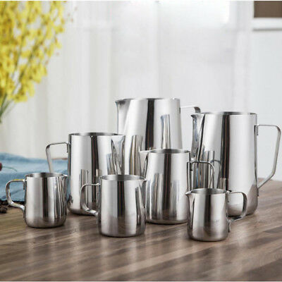 100-1500 Stainless Steel Milk Frothing Jug Coffee Latte Metal Pitcher Container