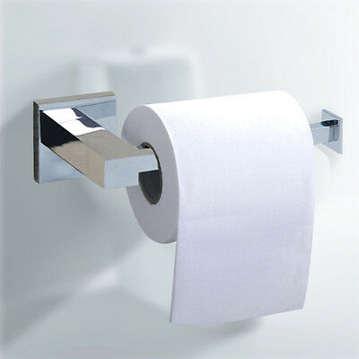 Silver Square Bathroom Toilet Roll Holder. Wall Mounted Toilet Roll
