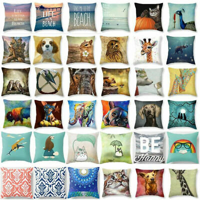 """18""""Cotton Linen Cat Cute Dog Pillow Cases Throw Pillow Cover Sofa Cushion Covers"""