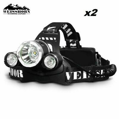 2X WEISSHORN LED Headlamp Rechargeable Head Torch Light 14000LM CREE XML T6 R5