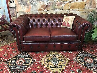 Vintage Chesterfield Leather MORAN 2 Seater Lounge Chair~Sofa