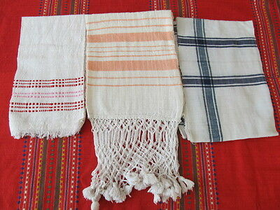 Old Primitive Antiques Hand Wooven Homespun Big Towels With Lace  - Lot 3
