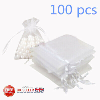 100X Organza Favour Pouches Gift Bags Voile Jewellery Net Bags Wedding Favours