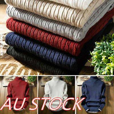 Mens Fashion Solid Knitwear Jumper Pullover Long Sleeve Sweater Tops Casual Tops