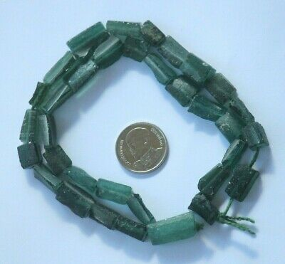 Ancient Roman Glass Old Green Square Bar Beads 18th Century Strand Viking 34 pcs