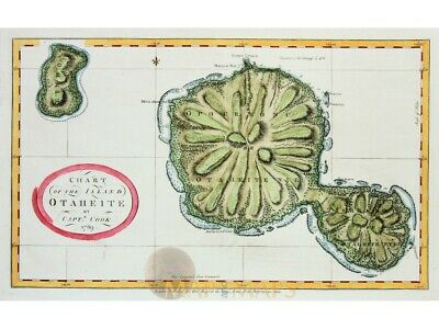 Tahiti Otaheite Frans-Polynesië James Cook by Hogg 1769