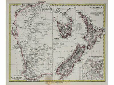 Australia New Zealand Tasmania antique map Peterman 1883