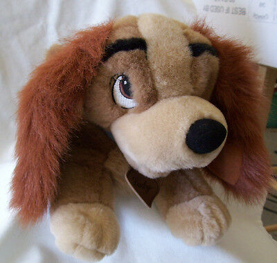 "LADY & The Tramp 14"" Plush Walt Disney Co Stuffed Cocker Spaniel Dog Collar/Tags"