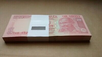 Reserve Bank of India Rs20 Banknote Full Bundle SN 76B-982301/982400 💯 notes