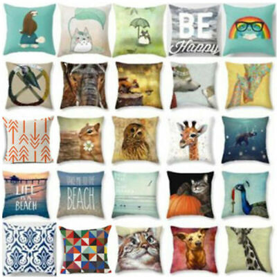 18'' Cotton Linen Sofa Cushion Cover Pillow Cover Throw Pillow Case Decor