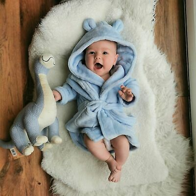 Soft Fleece Dressing Gown with Cute Ears - Blue | FREE Delivery