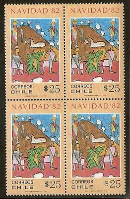 Chile 1982 Stamp # 1041 Mnh Block Of Four Christmas 82'