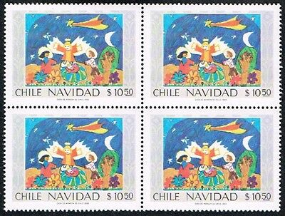 Chile 1980 Stamp # 985 Mnh Block Of Four Christmas Child Painting