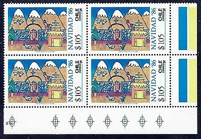Chile 1986 Stamp # 1204 Mnh Block Of Four Christmas Corner Of Sheet