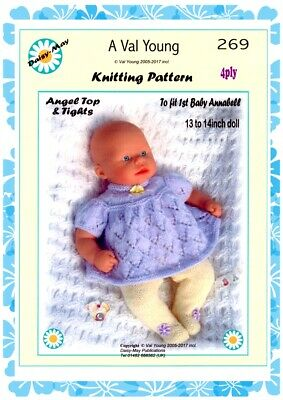 DOLLS KNITTING PATTERN no 246 for 1st Baby Annabell 13 //14 ins Doll Val Young