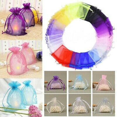 20 50 100X Small White Organza Bags Wedding Favours Pouches Net Jewellery Bag
