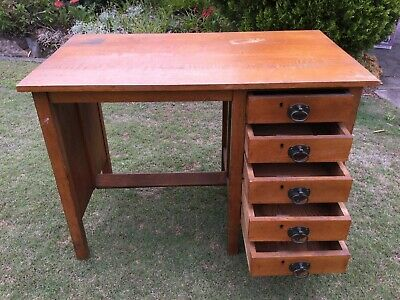 Antique handmade Brown solid wood desk drawers study office student retro